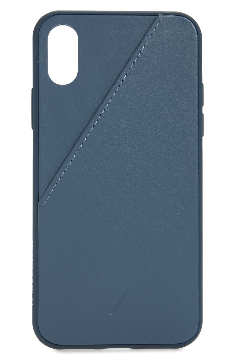 NATIVE UNION Clic Leather Card iPhone XS/X Max Case, Main, color, NAVY