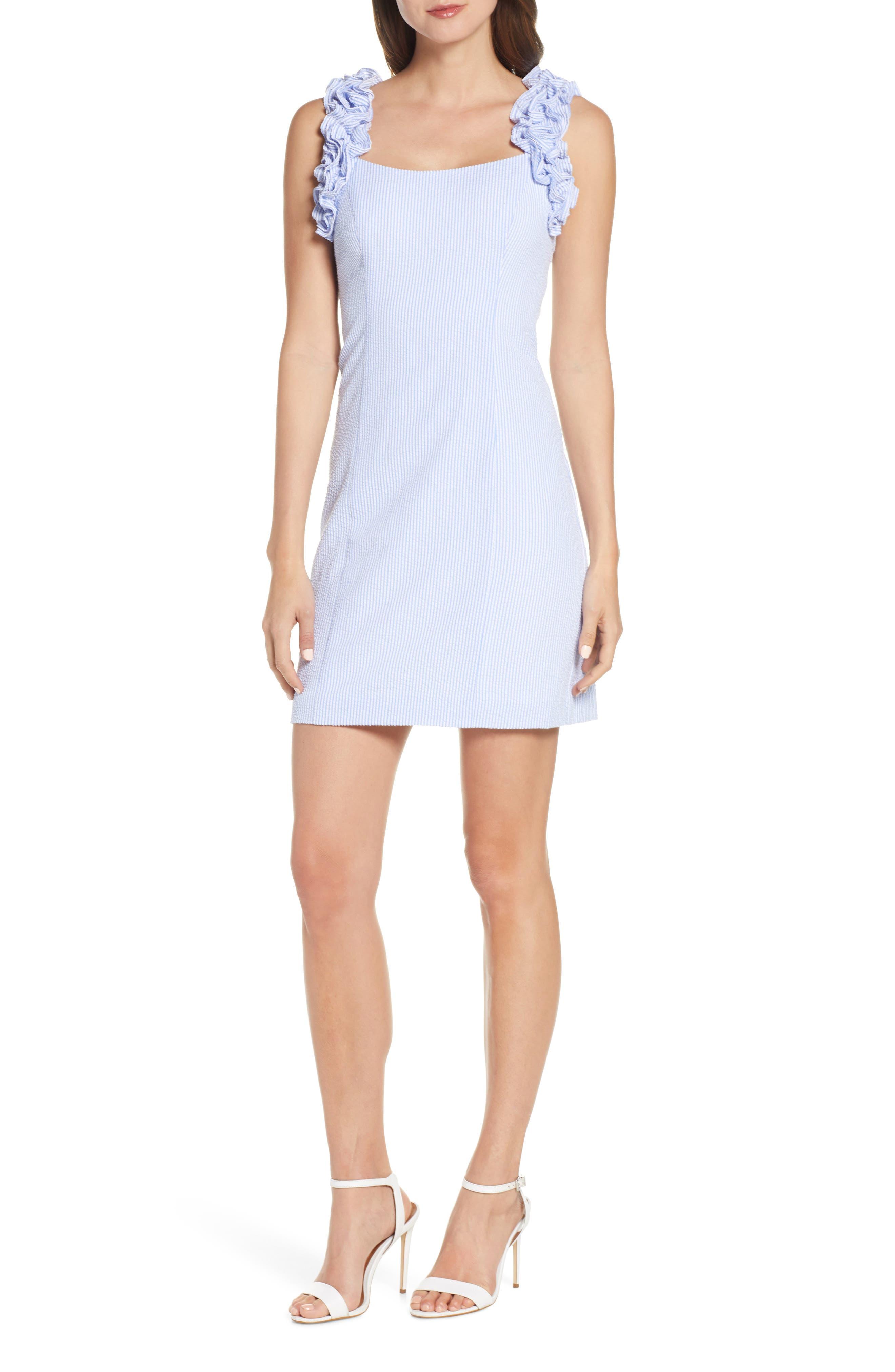 Eliza J Ruffle Strap Sheath Dress, 8 (similar to 1) - Blue