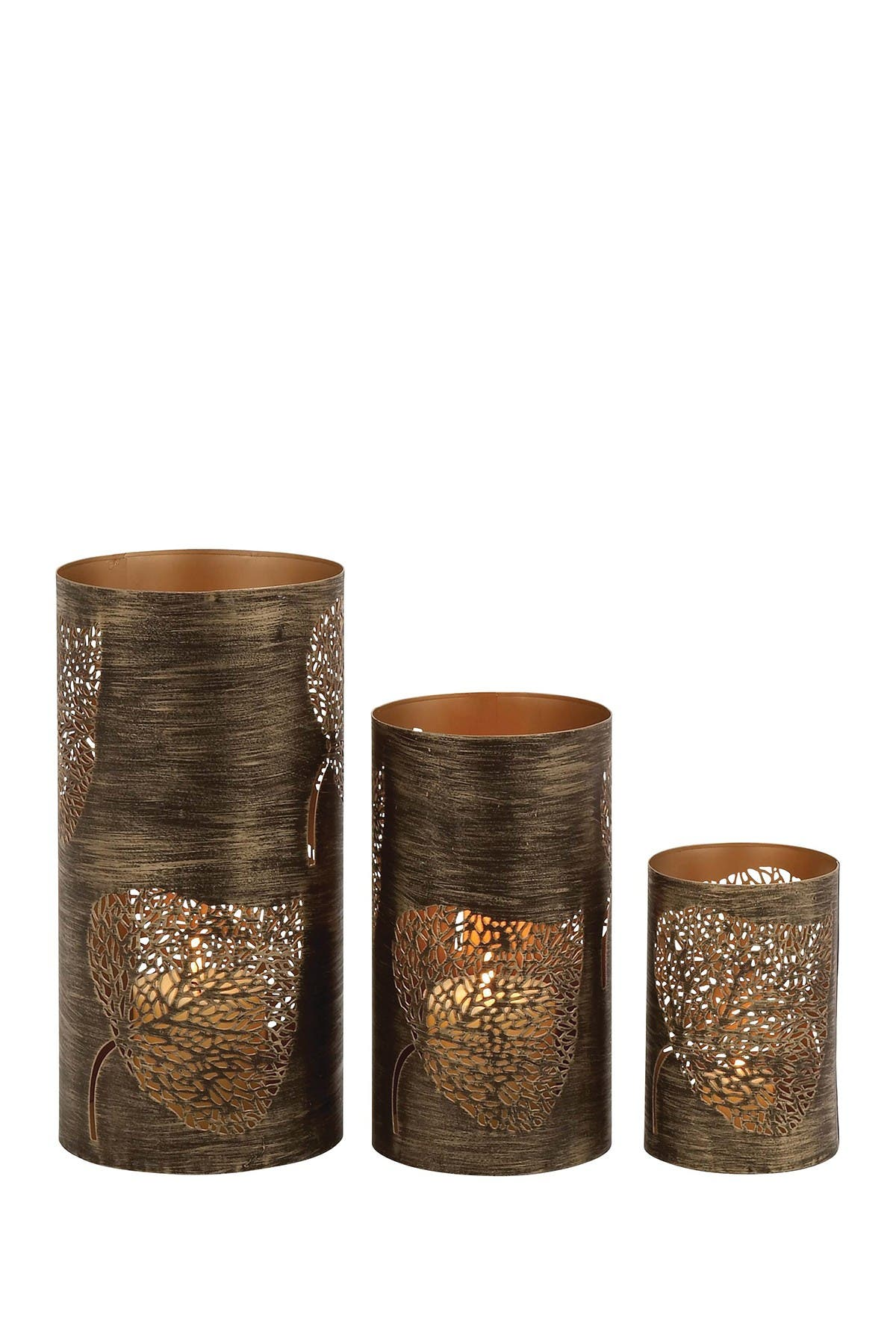Image of Willow Row Bronze/Brass Contemporary Iron Candle Lanterns - Set of 3