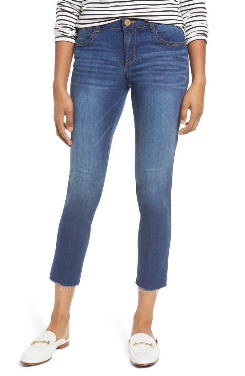 WIT & WISDOM Ab-solution Raw Hem Ankle Skinny Jeans, Main, color, BLUE