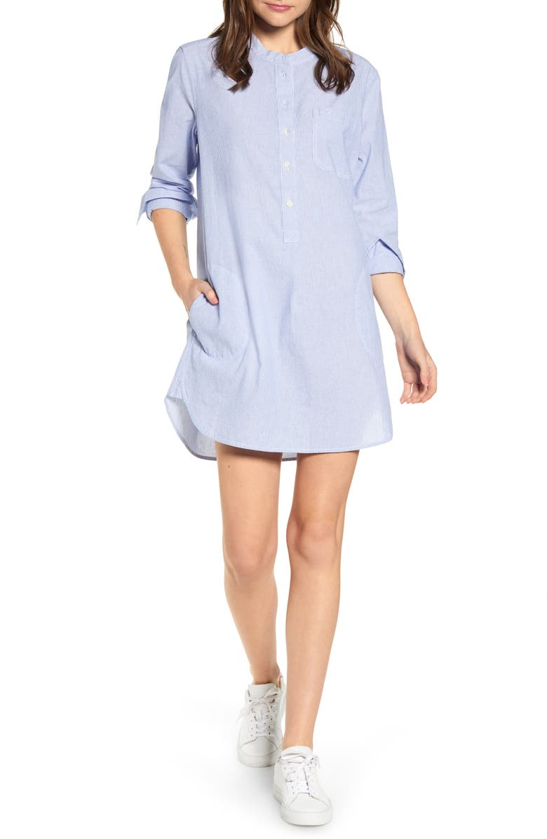 ALEX MILL Fine Stripe Popover Shirtdress, Main, color, 400