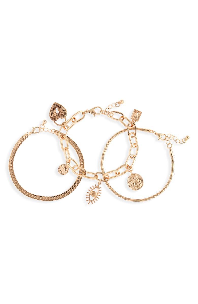 BP. Set of 3 Charm Chain Bracelets, Main, color, GOLD