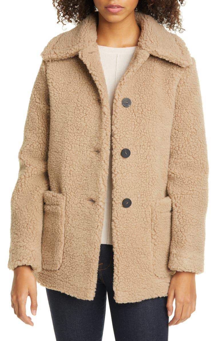 HARRIS WHARF LONDON Faux Shearling Jacket, Main, color, TAN