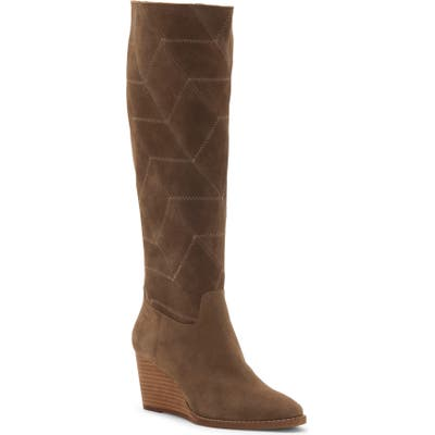 Lucky Brand Preeka Knee High Wedge Boot, Brown