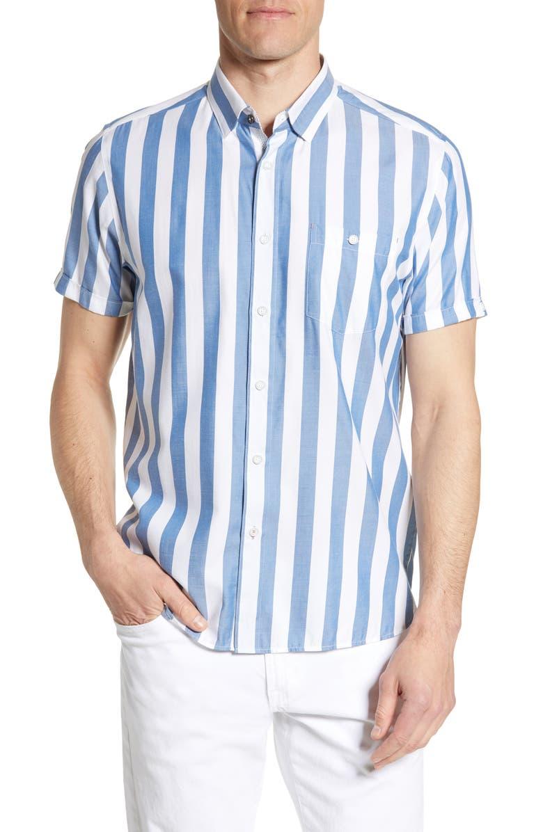 TED BAKER LONDON Marki Slim Fit Stripe Short Sleeve Shirt, Main, color, BLUE