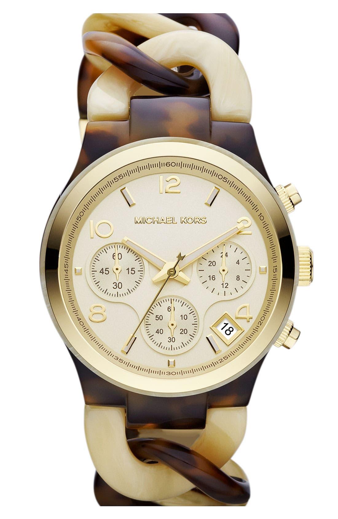 ,                             Michael Kors Chain Bracelet Chronograph Watch, 38mm,                             Main thumbnail 8, color,                             200