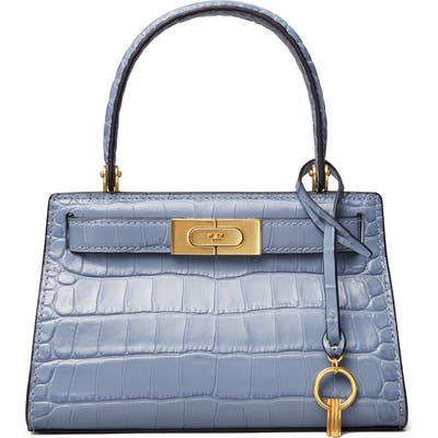 Tory Burch Lee Radziwill Croc Embossed Leather Tote - Blue