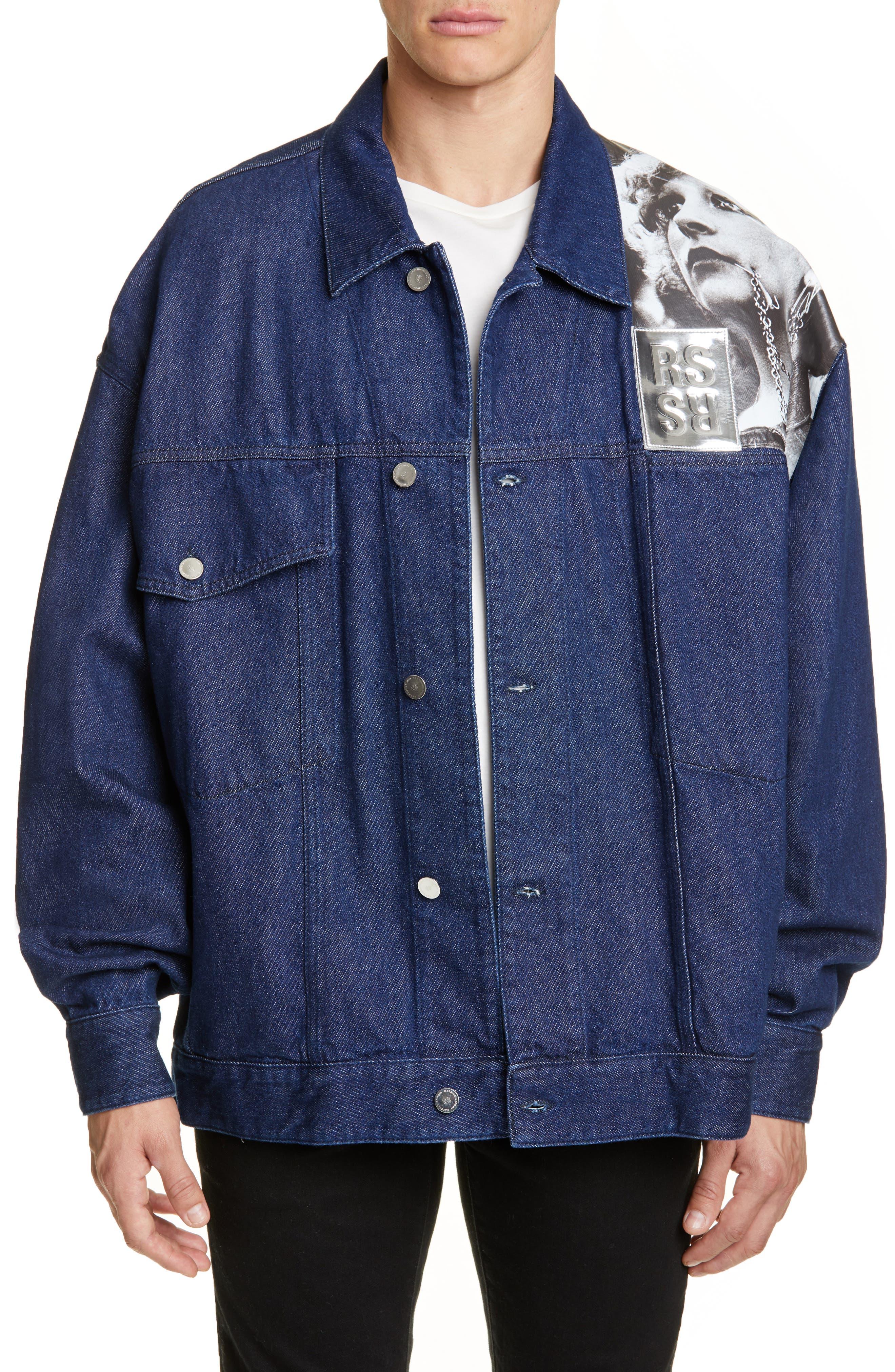 Punkette Oversize Denim Jacket, Main, color, DARK NAVY