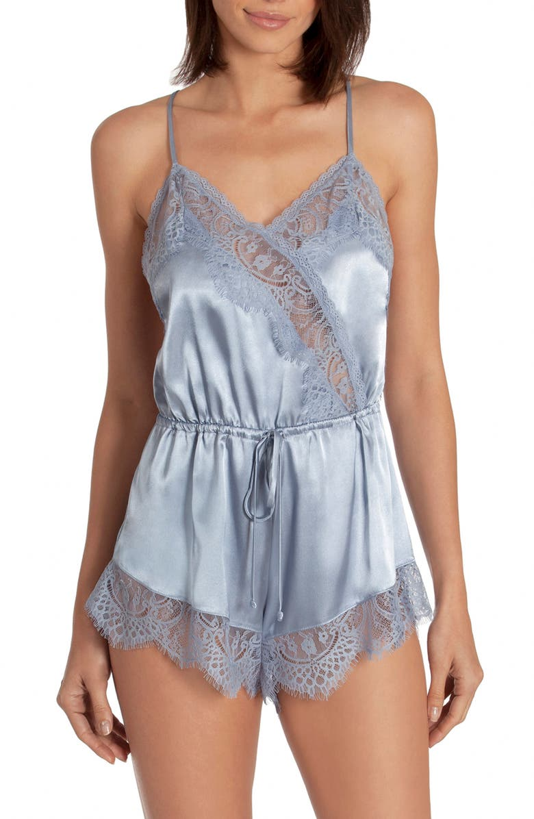 IN BLOOM BY JONQUIL Picture Perfect Satin Romper, Main, color, CARBON BLUE