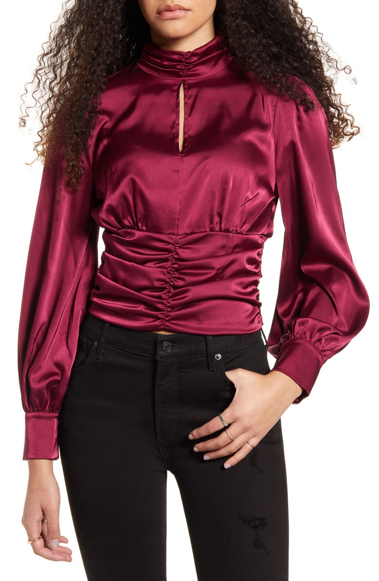 ONE CLOTHING Long Sleeve Satin Mock Neck Top, Main, color, 930
