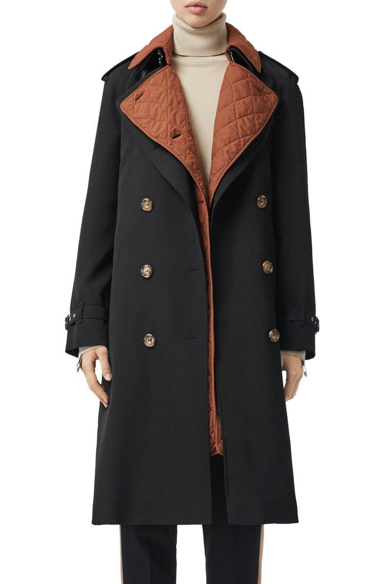 BURBERRY 3-in-1 Trench Coat with Quilted Liner, Main, color, BLACK