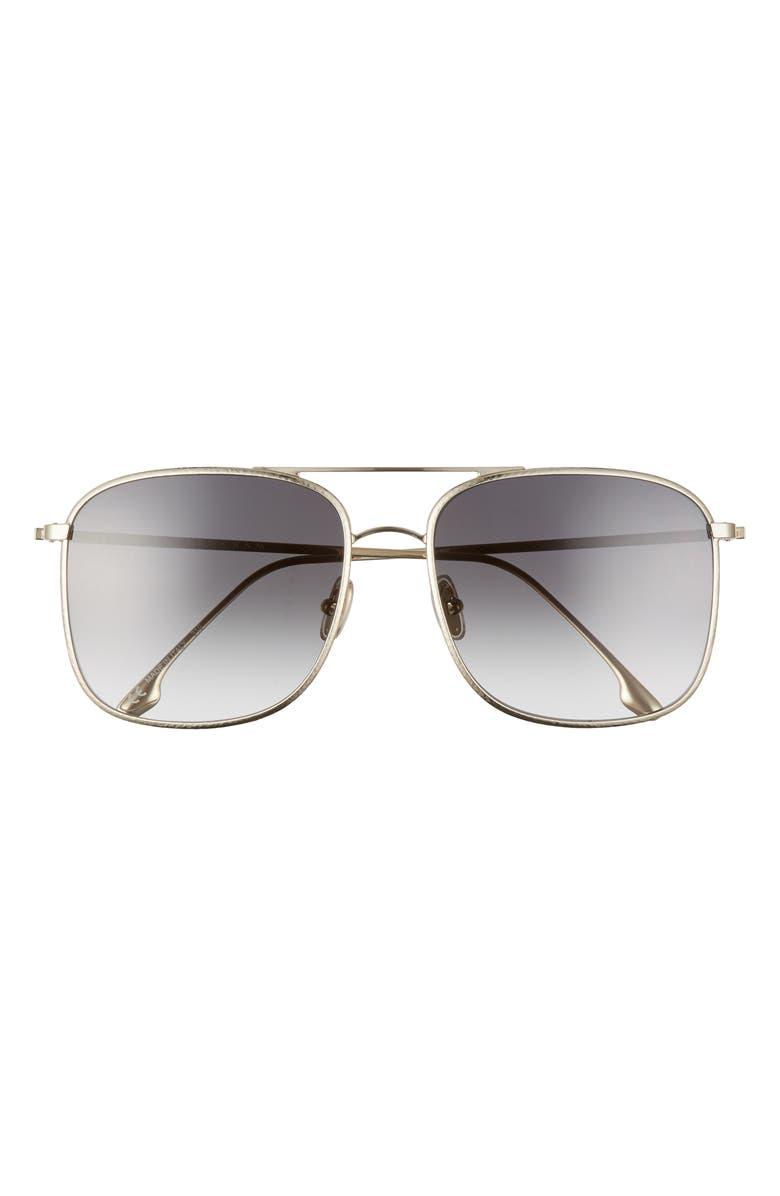 VICTORIA BECKHAM 59mm Gradient Square Navigator Sunglasses, Main, color, GOLD/ SMOKE