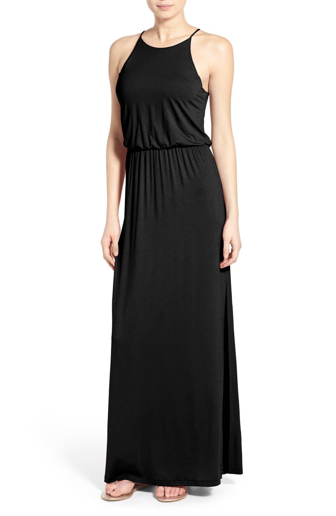 ,                             High Neck Maxi Dress,                             Main thumbnail 31, color,                             001