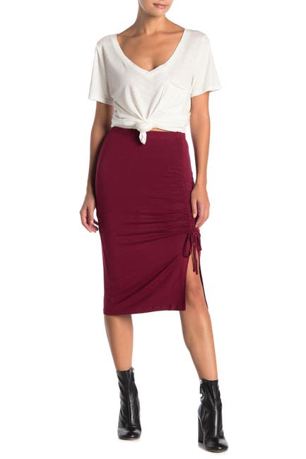 Image of Velvet Torch Ruched Side Slit Midi Skirt