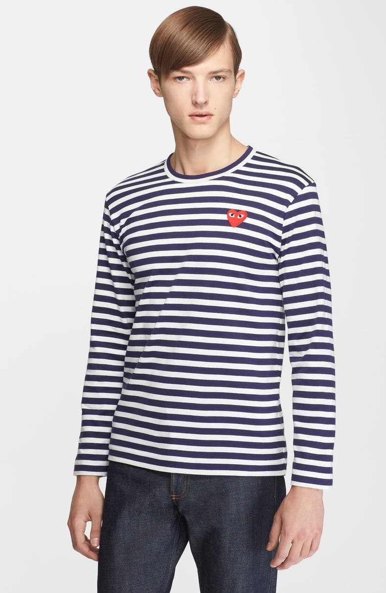 COMME DES GARÇONS PLAY Slim Fit Stripe T-Shirt, Main, color, NAVY/ WHITE