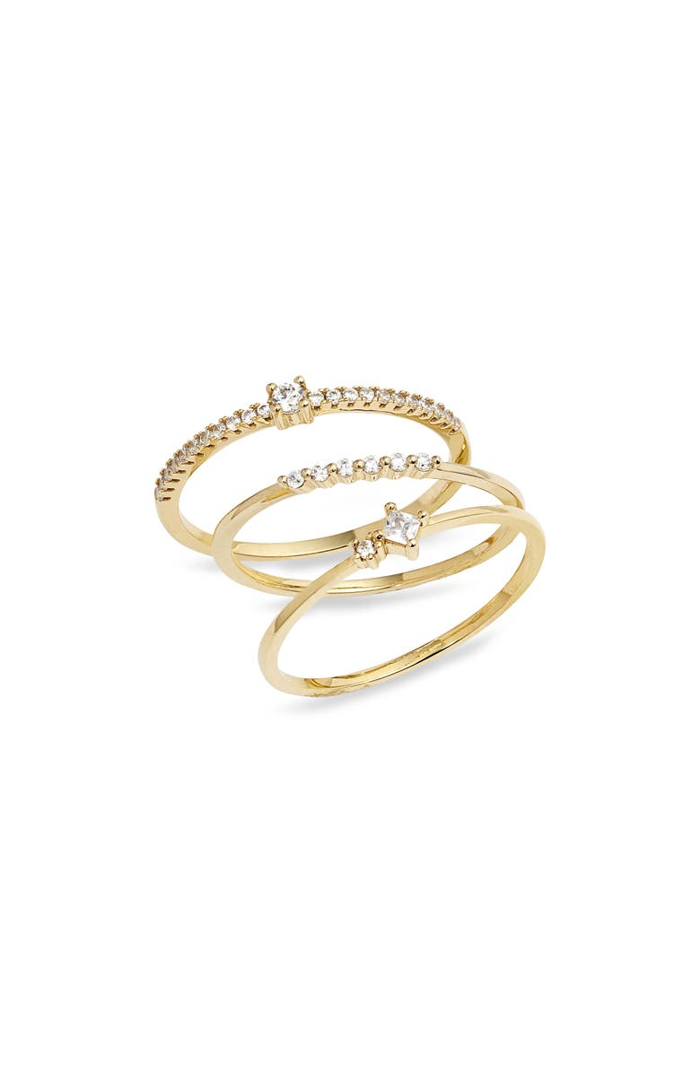 NORDSTROM Itty Bitty Stacking Rings, Main, color, CLEAR- GOLD