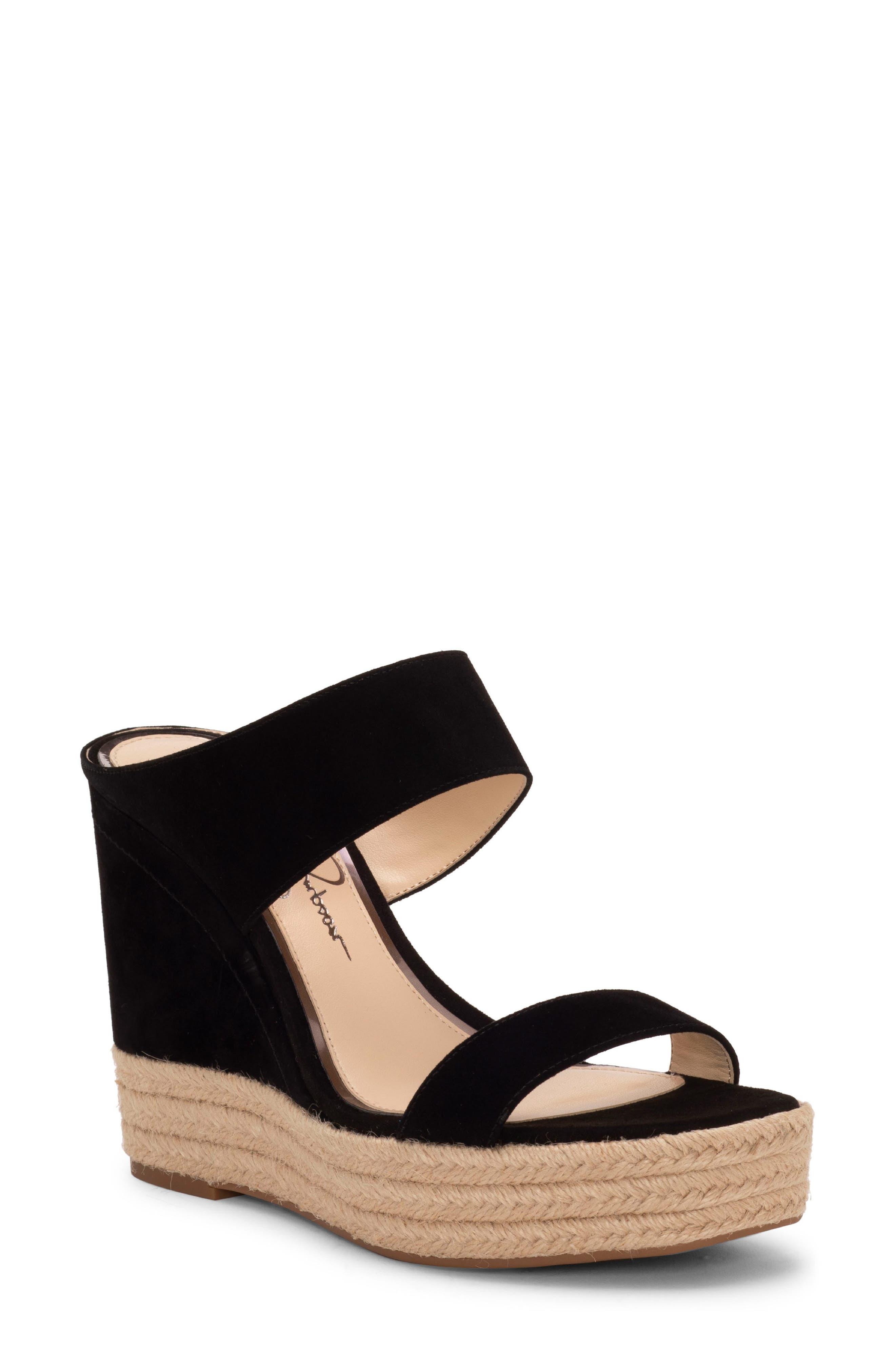 ,                             Siera Espadrille Wedge Slide Sandal,                             Main thumbnail 1, color,                             BLACK