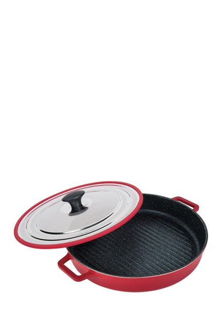 """Image of MASTERPAN Red Stovetop Oven Grill 12"""" Pan with Heat-in Steam-Out Lid"""
