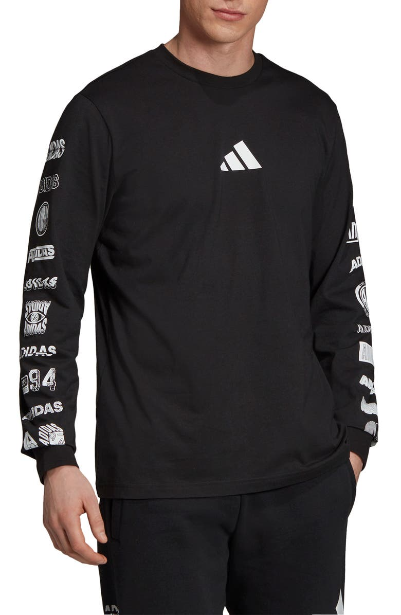 ADIDAS Athletics Pack Cotton Long Sleeve T-Shirt, Main, color, BLACK