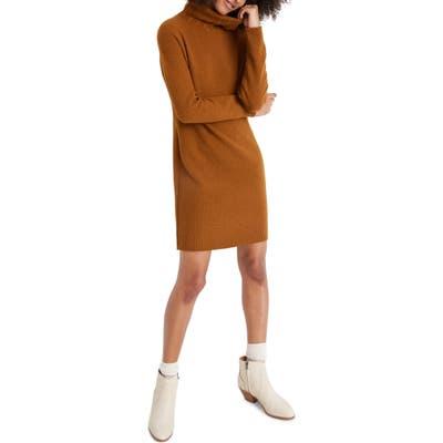 Madewell Foldover Turtleneck Long Sleeve Sweater Dress, Brown