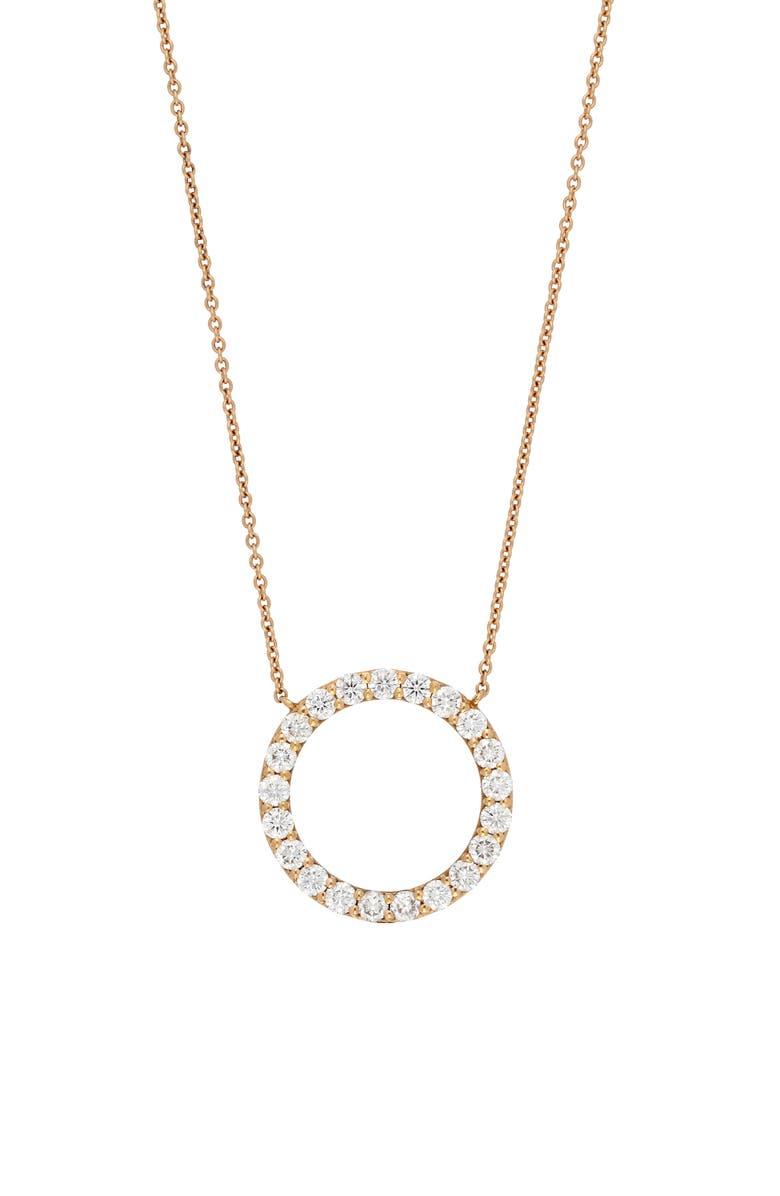 BONY LEVY Diamond Circle Pendant Necklace, Main, color, ROSE GOLD/ DIAMOND