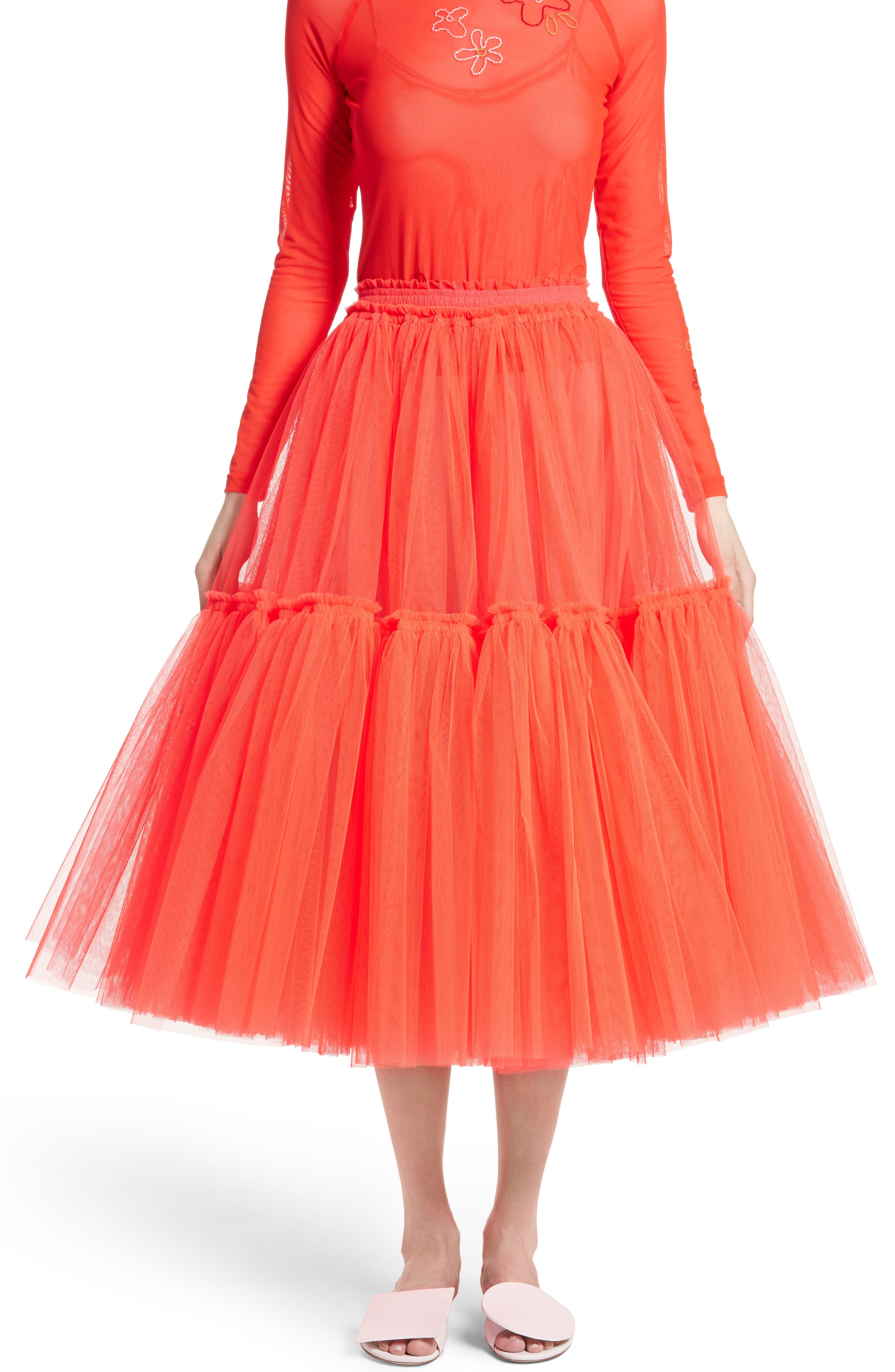 ,                             Gathered Tulle Skirt,                             Main thumbnail 7, color,                             600