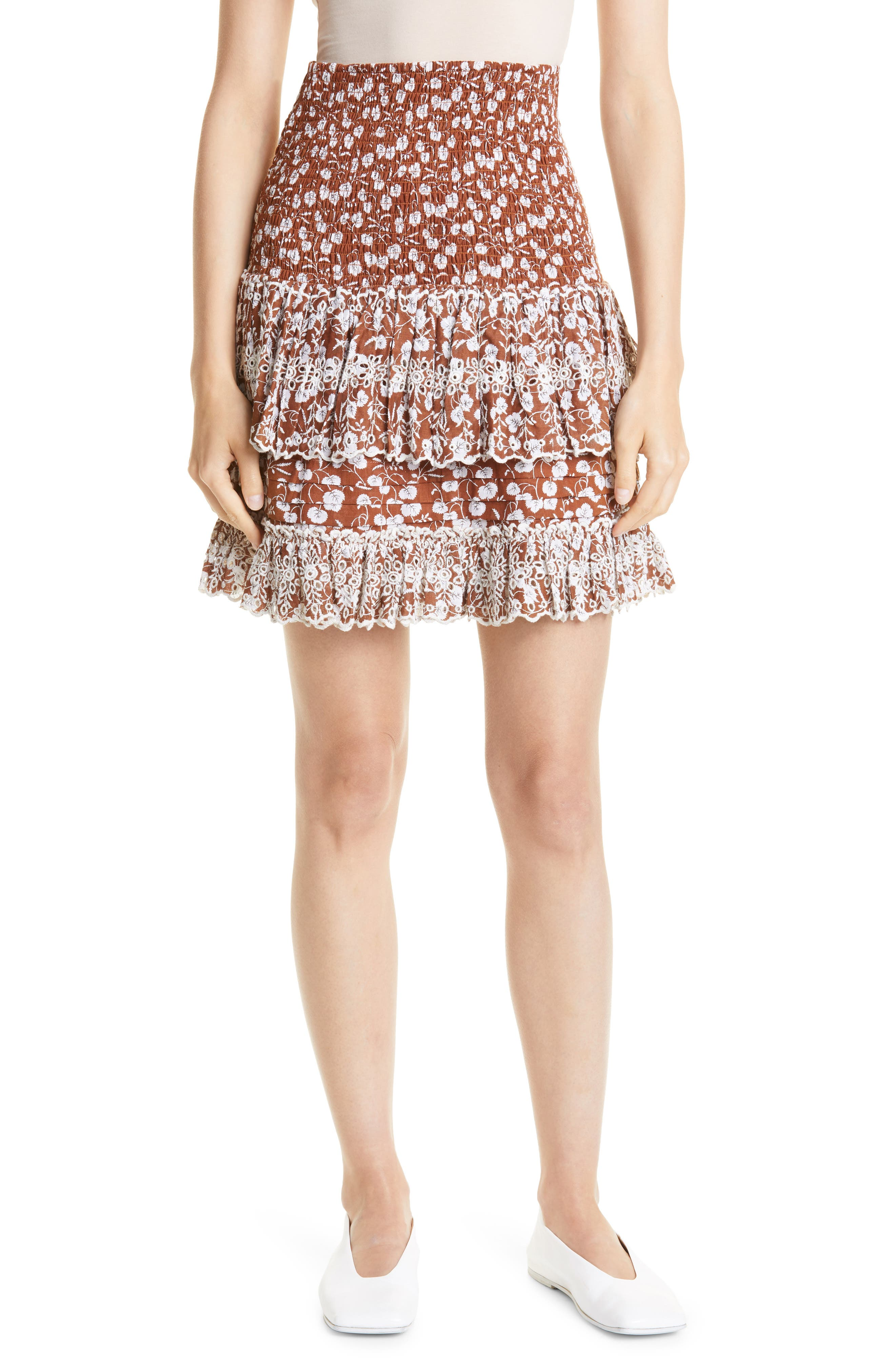Floral Tiered Smocked Cotton Skirt