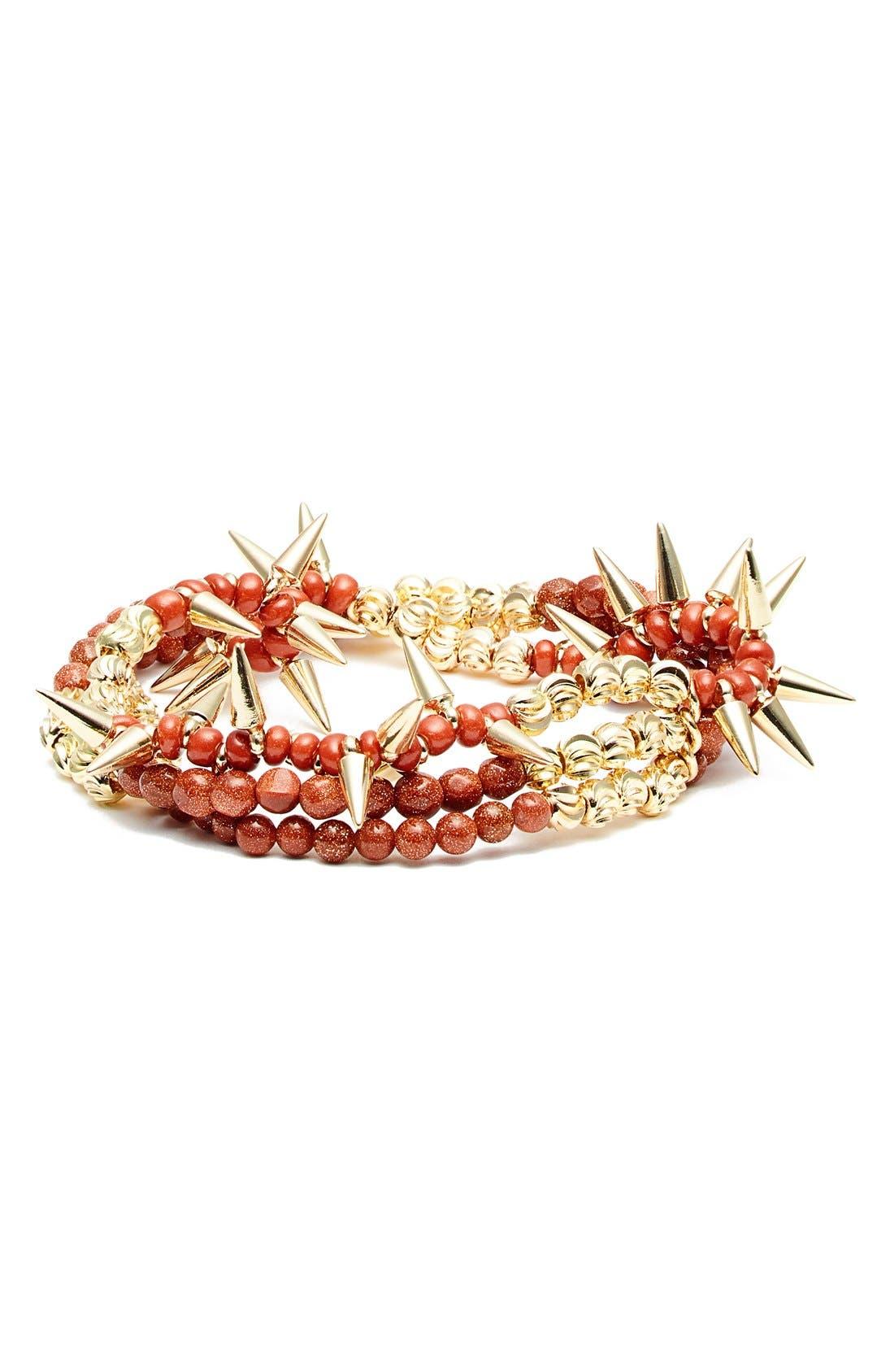 Spike Beaded Stretch Bracelet, Main, color, 200