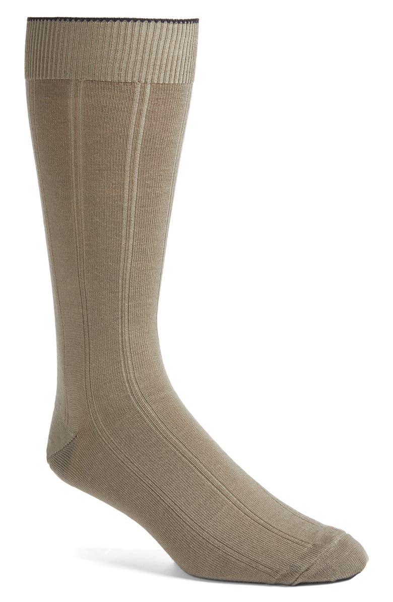 NORDSTROM MEN'S SHOP Rib Wool Blend Dress Socks, Main, color, TAUPE
