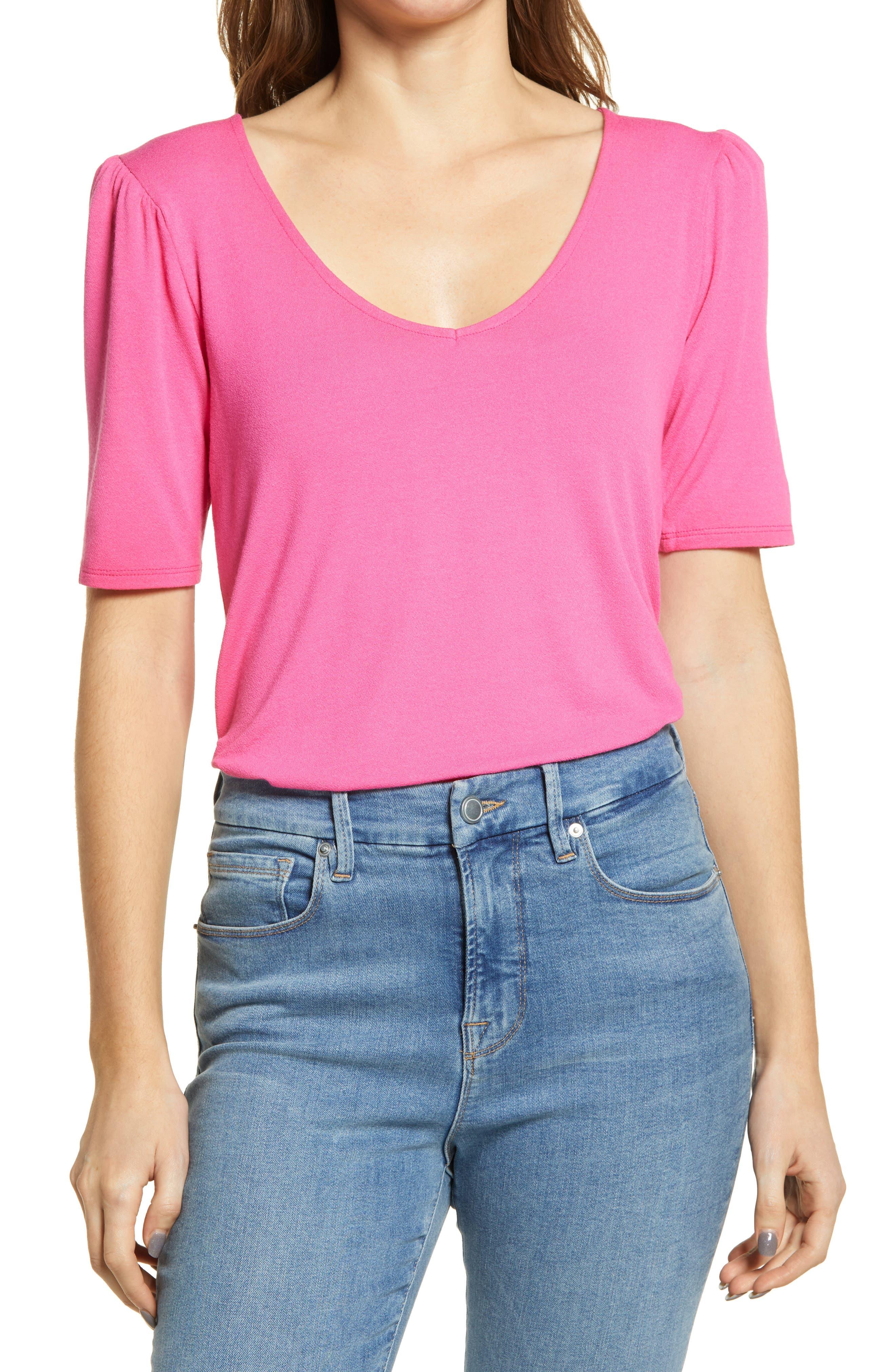 Puff Shoulder V-Neck T-Shirt