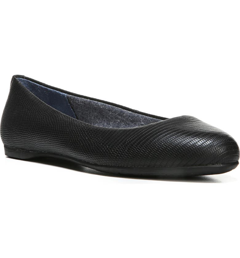 DR. SCHOLL'S Giorgie Flat, Main, color, BLACK FAUX LEATHER