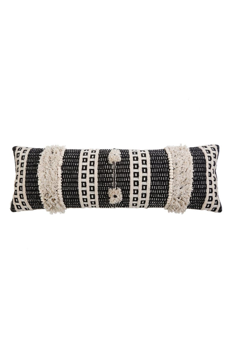 POM POM AT HOME Sawyer Accent Pillow, Main, color, CHARCOAL/ IVORY