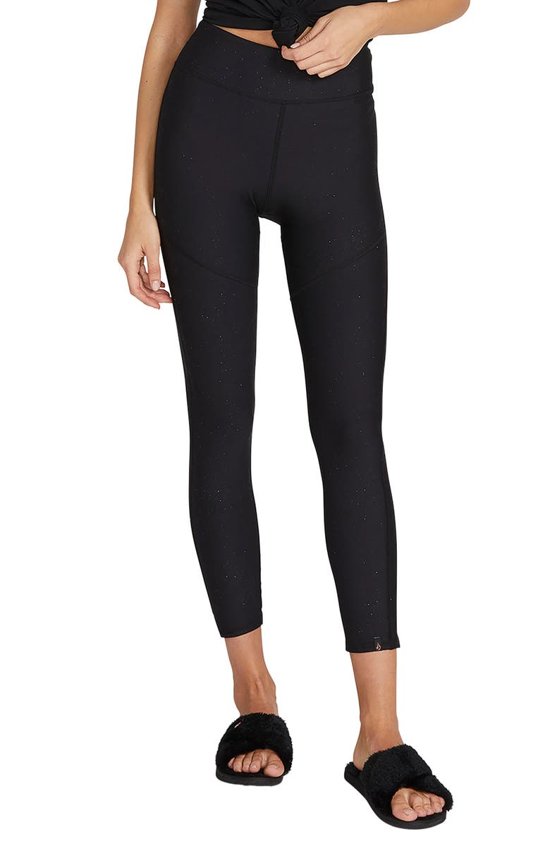 VOLCOM Lil High Waist Leggings, Main, color, BLACK