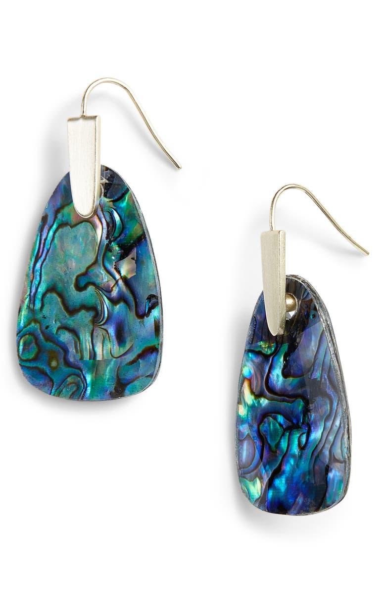 KENDRA SCOTT Marty Drop Earrings, Main, color, ABALONE SHELL/ GOLD