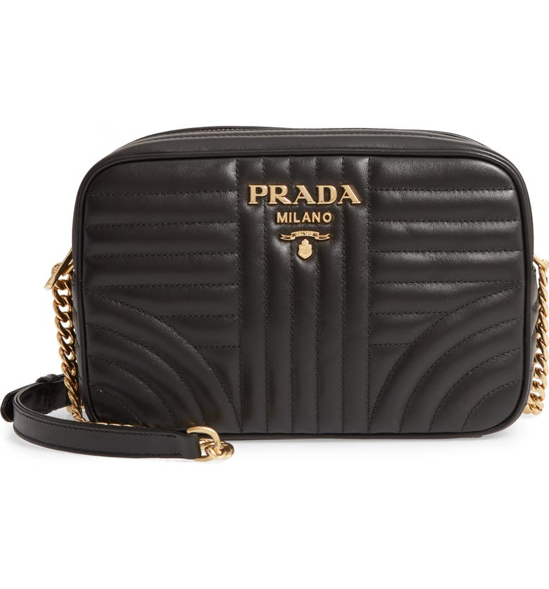 Impunture Quilted Leather Camera Bag by Prada