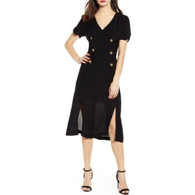All In Favor Double Breasted Midi Dress, Black