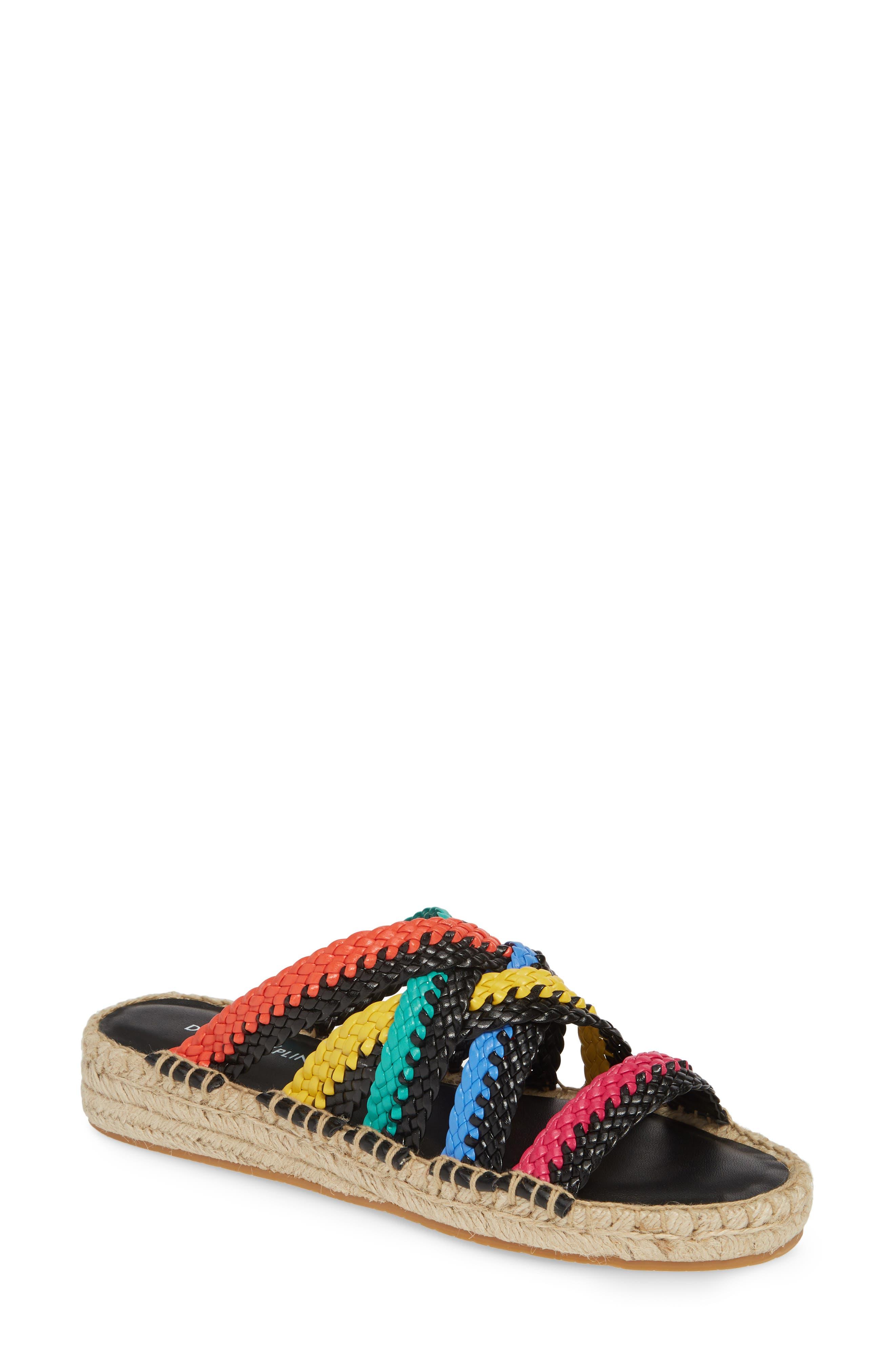 ,                             Rhonda Woven Espadrille Slide Sandal,                             Main thumbnail 1, color,                             BLACK MULTI LEATHER