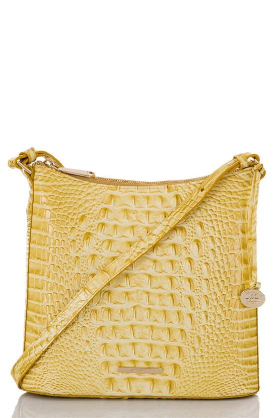 Brahmin Katie Croc Embossed Leather Crossbody Bag In Lemonade
