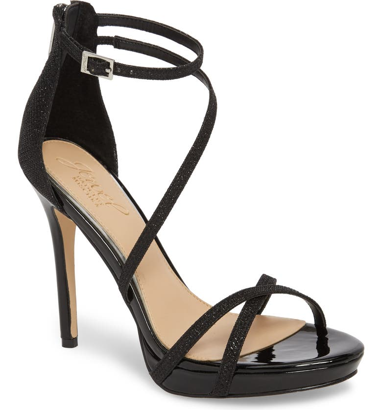 JEWEL BADGLEY MISCHKA Galen Strappy Platform Sandal, Main, color, BLACK GLITTER FABRIC