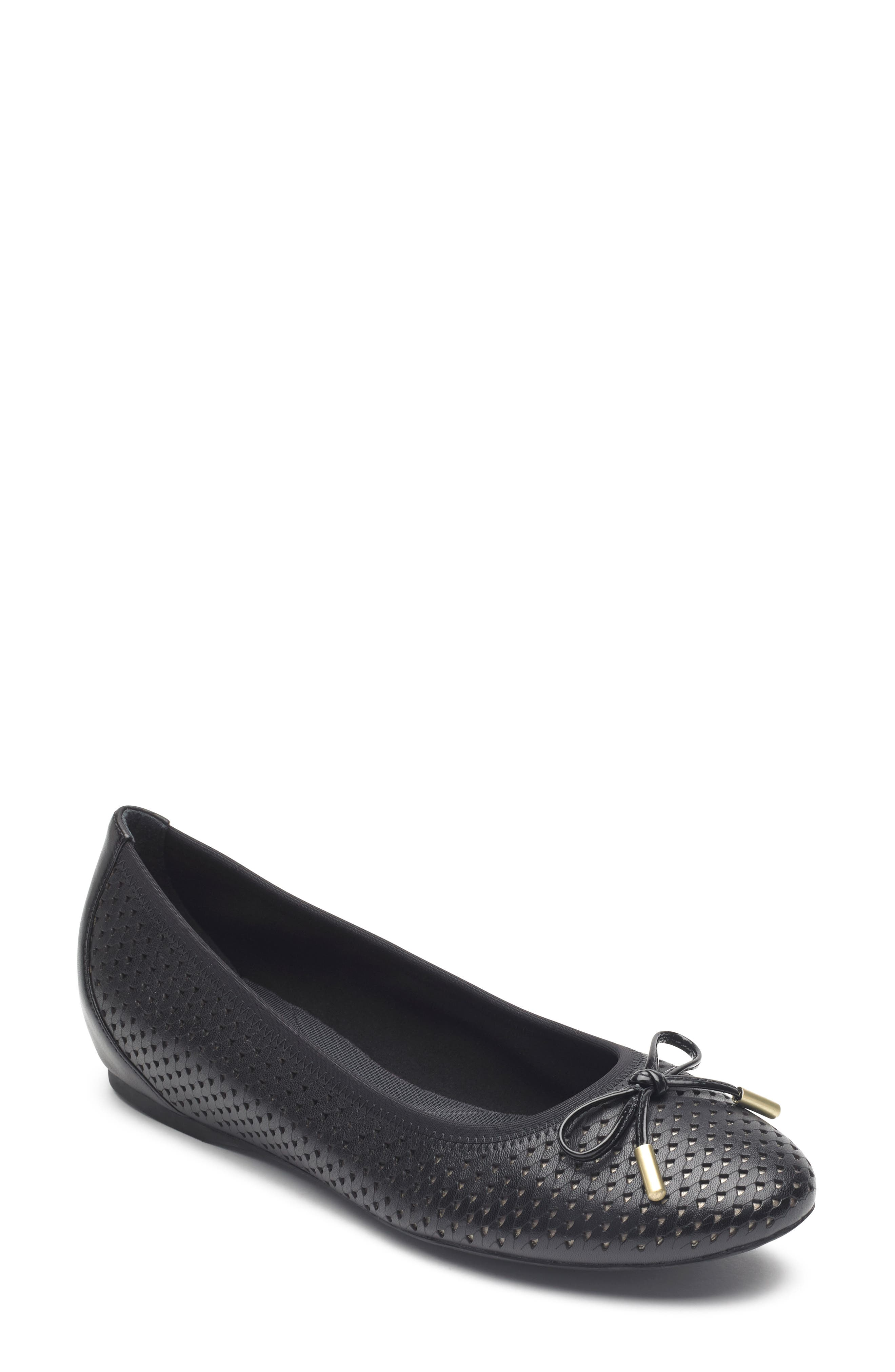 Rockport Total Motion Hidden Wedge Perforated Flat, Black