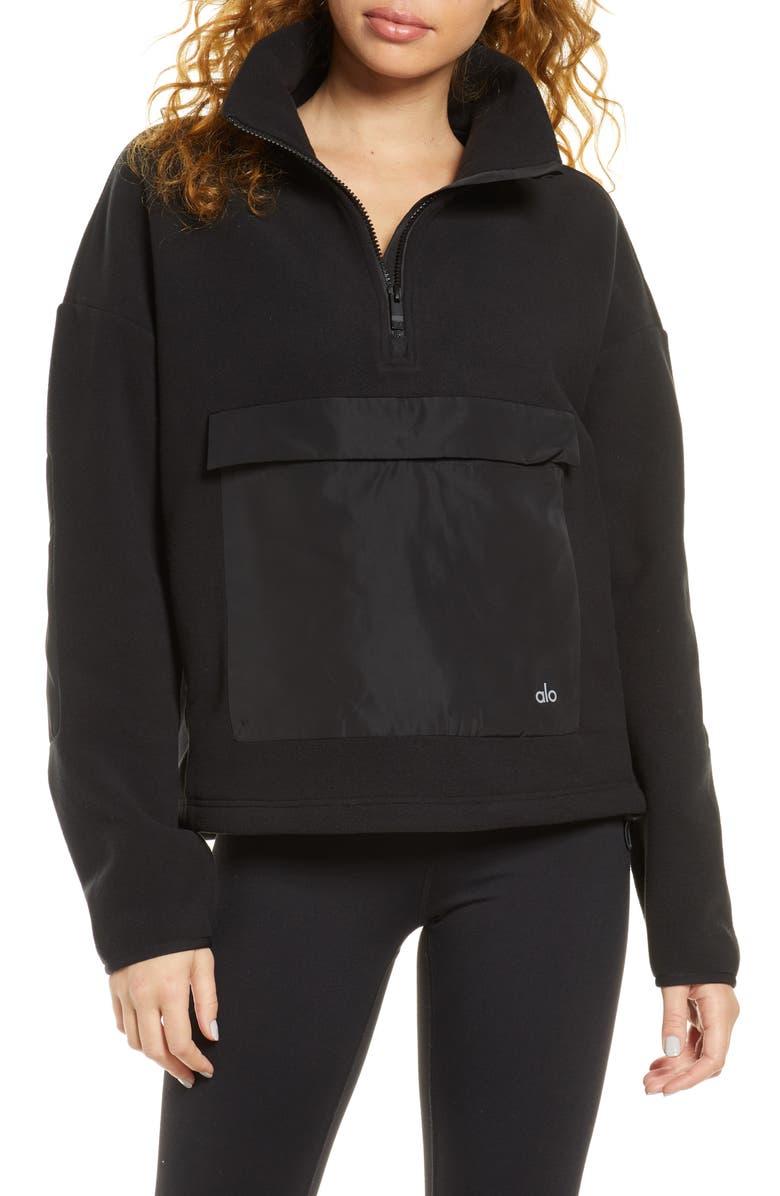 ALO Blackcomb Polar Fleece Half Zip Pullover, Main, color, BLACK