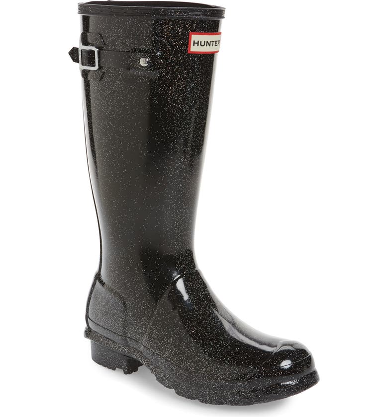 HUNTER Starcloud Glitter Rain Boot, Main, color, BLACK MULTI