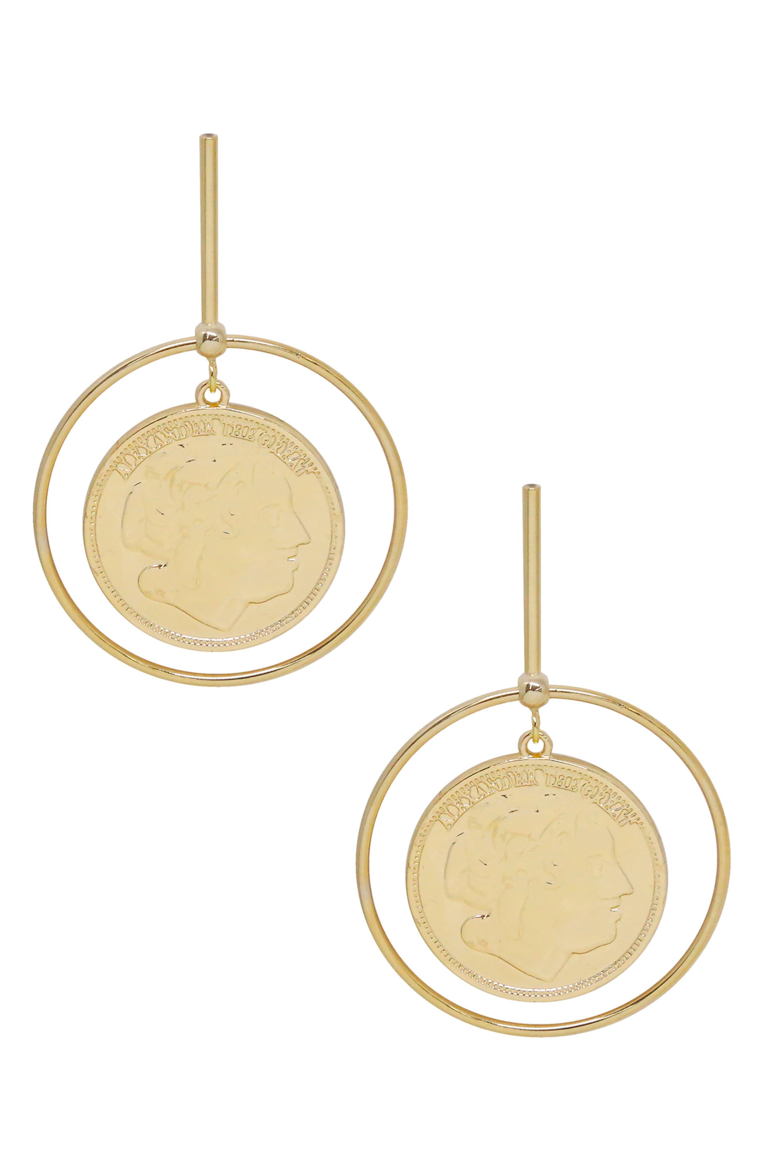 Coin & Hoop Drop Earrings
