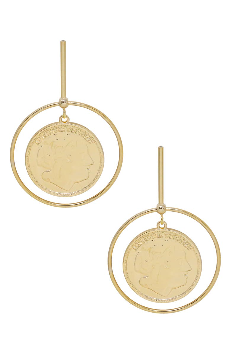 ETTIKA Coin & Hoop Drop Earrings, Main, color, GOLD