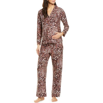 Belabumbum Leopard Maternity/nursing Pajamas, Beige