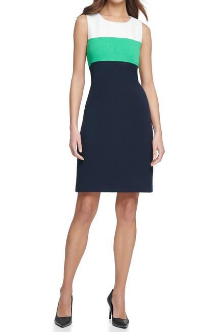 Image of Tommy Hilfiger Colorblock Pique Knit Sheath Dress