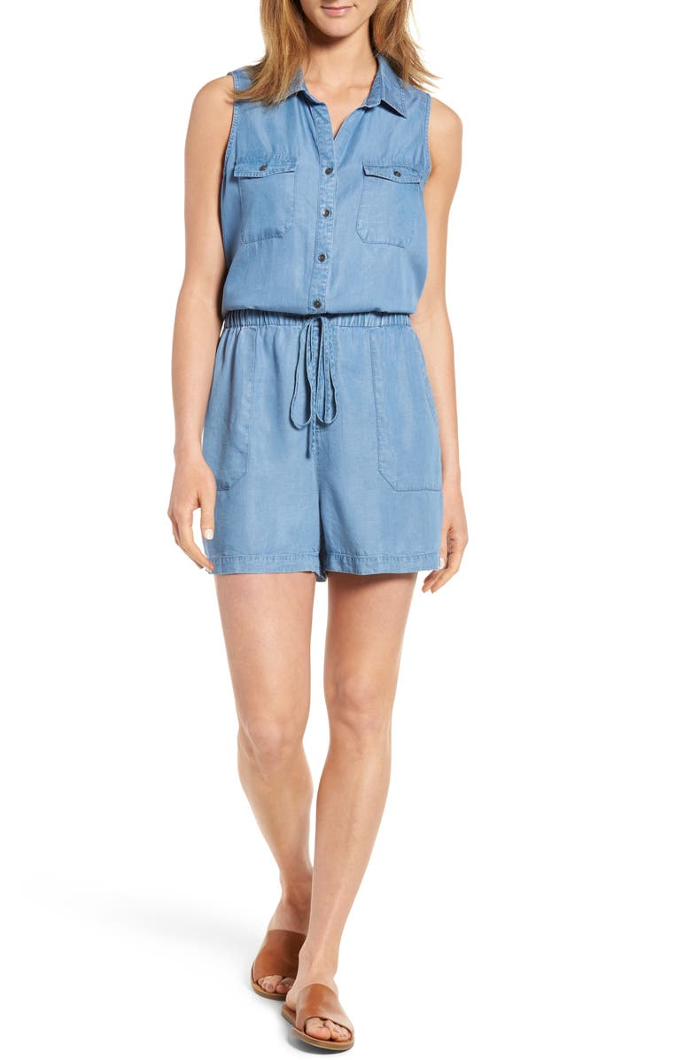 CASLON<SUP>®</SUP> Chambray Romper, Main, color, 420