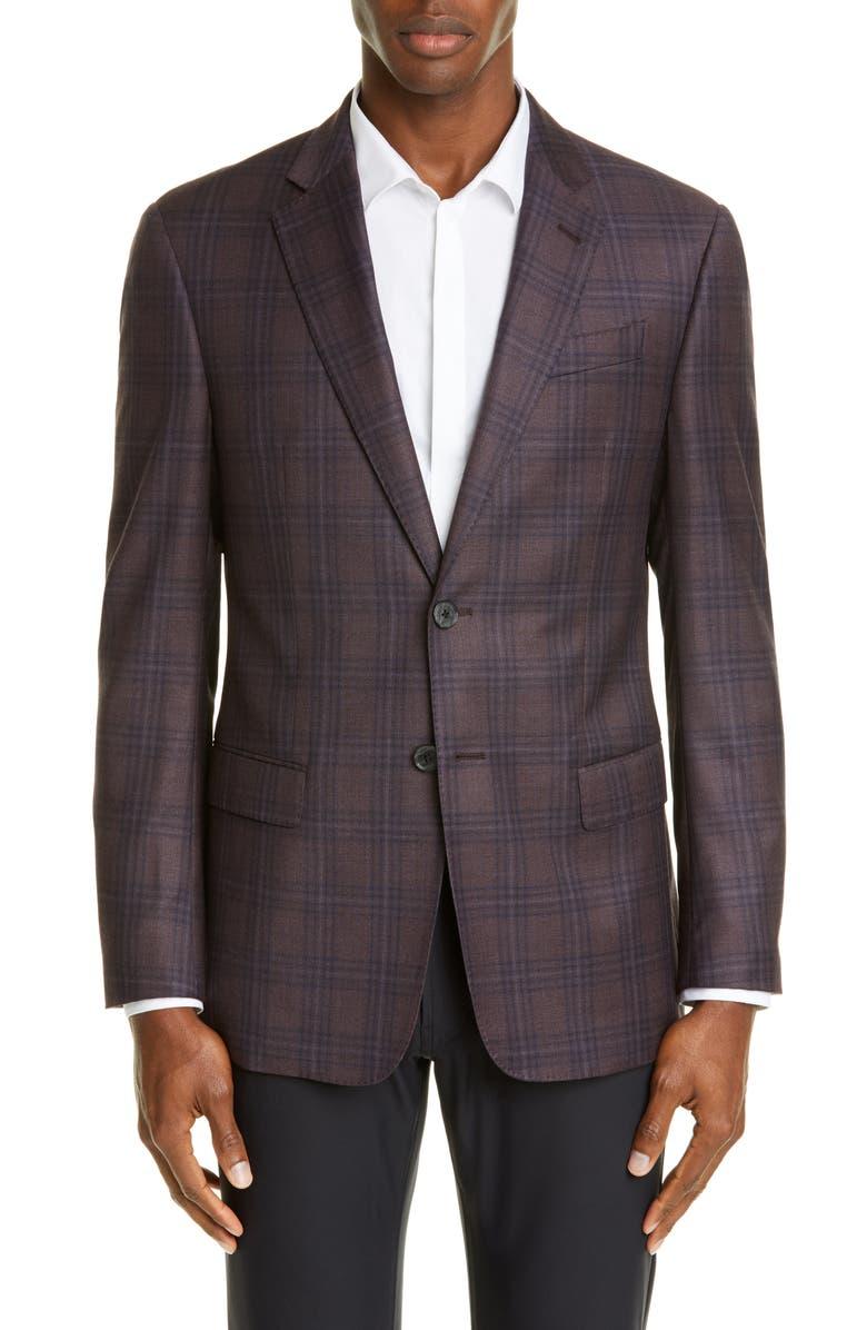 EMPORIO ARMANI Trim Fit Plaid Wool Sport Coat, Main, color, RED