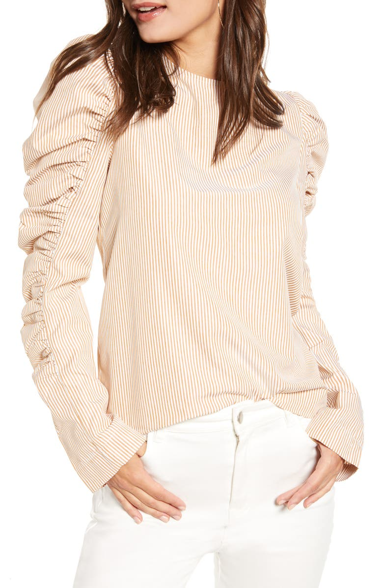 ENGLISH FACTORY Gathered Puff Sleeve Top, Main, color, YELLOW