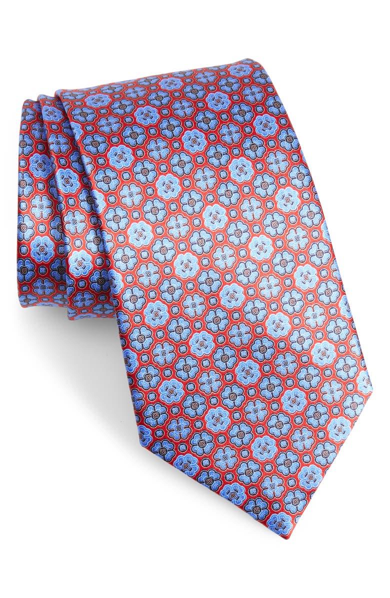 ERMENEGILDO ZEGNA Geometric Silk Tie, Main, color, RED